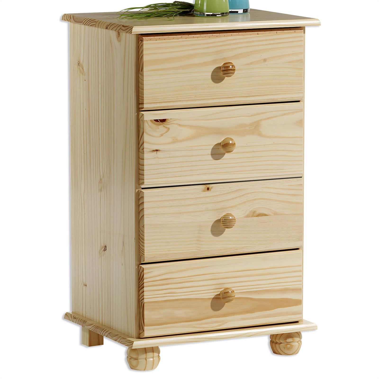 chiffonnier en pin bern 4 tiroirs vernis naturel. Black Bedroom Furniture Sets. Home Design Ideas