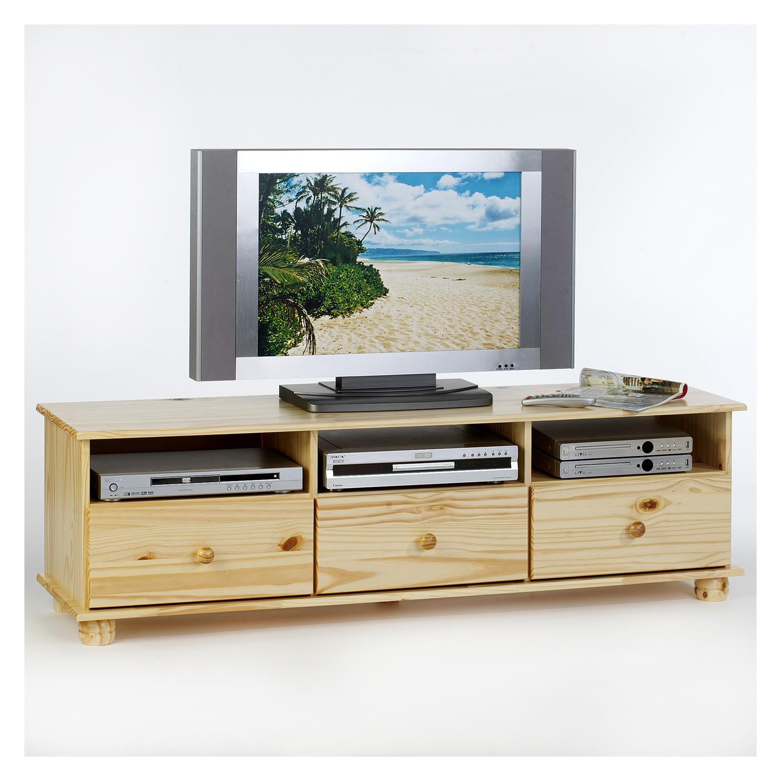 meuble tv en pin bern 3 tiroirs 3 niches vernis naturel mobil meubles. Black Bedroom Furniture Sets. Home Design Ideas