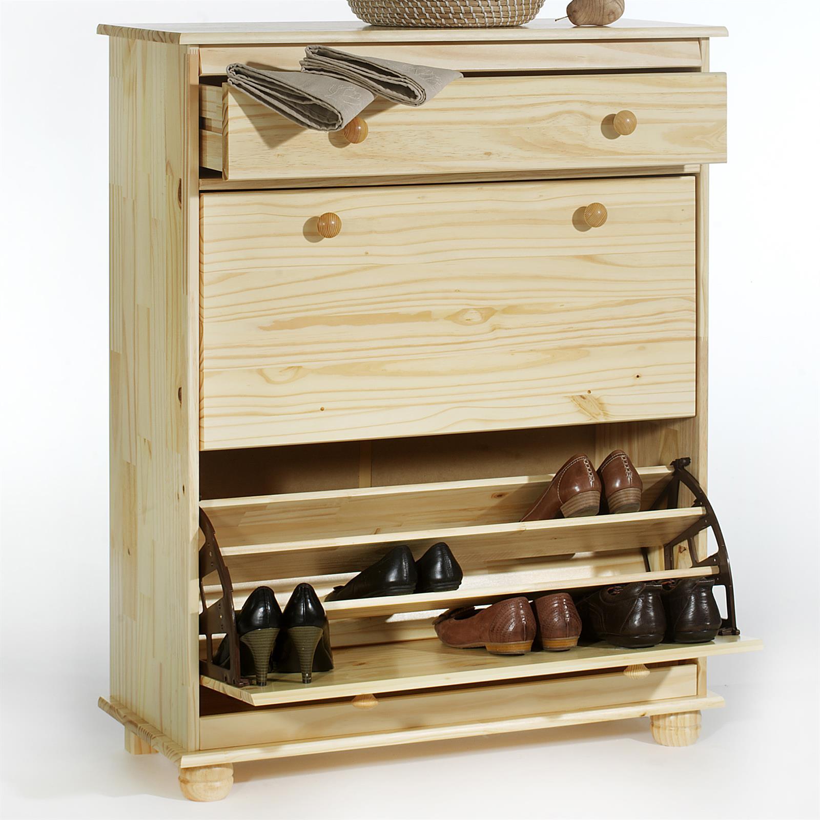 Meuble chaussures en pin bern vernis naturel mobil for Peindre meuble pin vernis