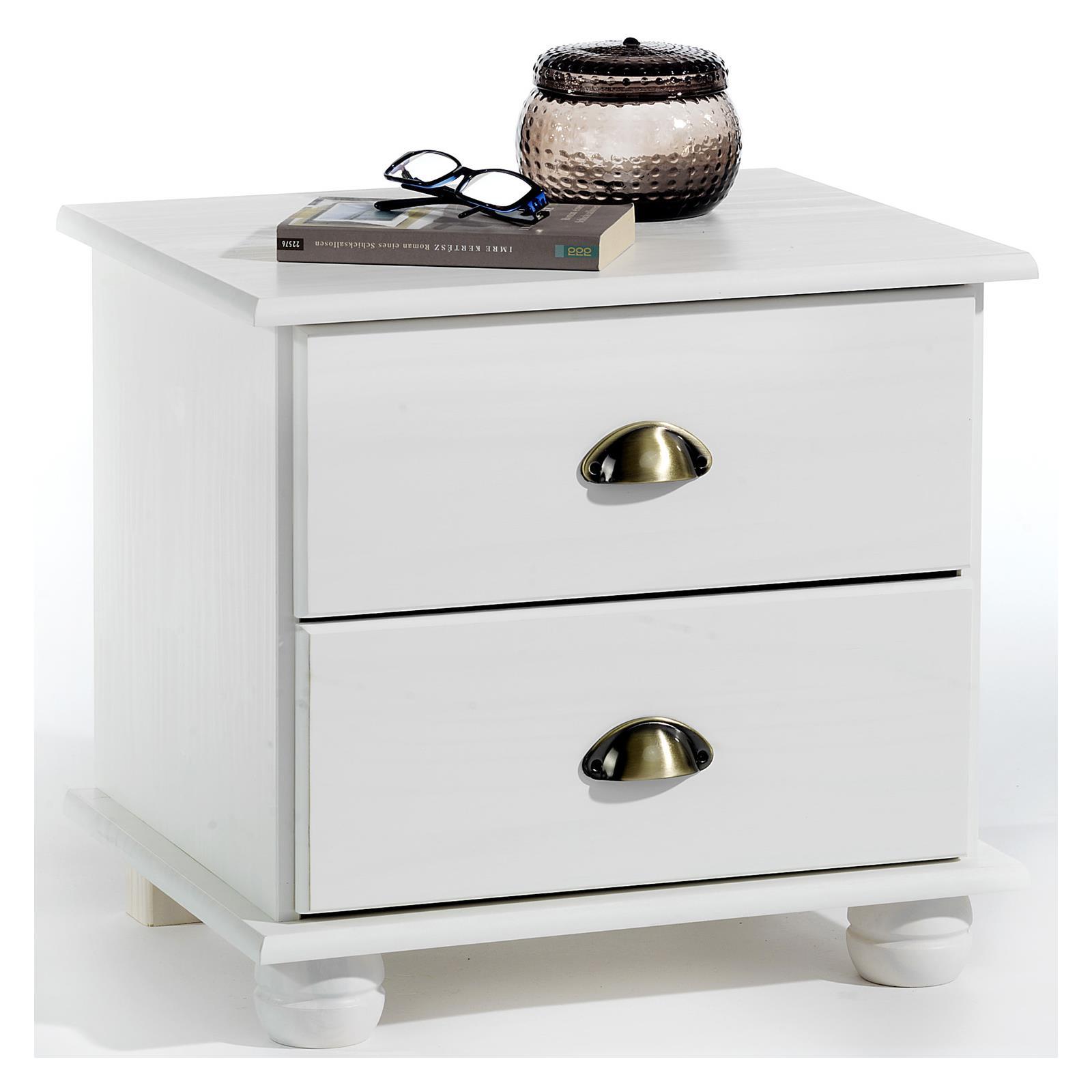 table de chevet en pin colmar lasur blanc mobil meubles. Black Bedroom Furniture Sets. Home Design Ideas