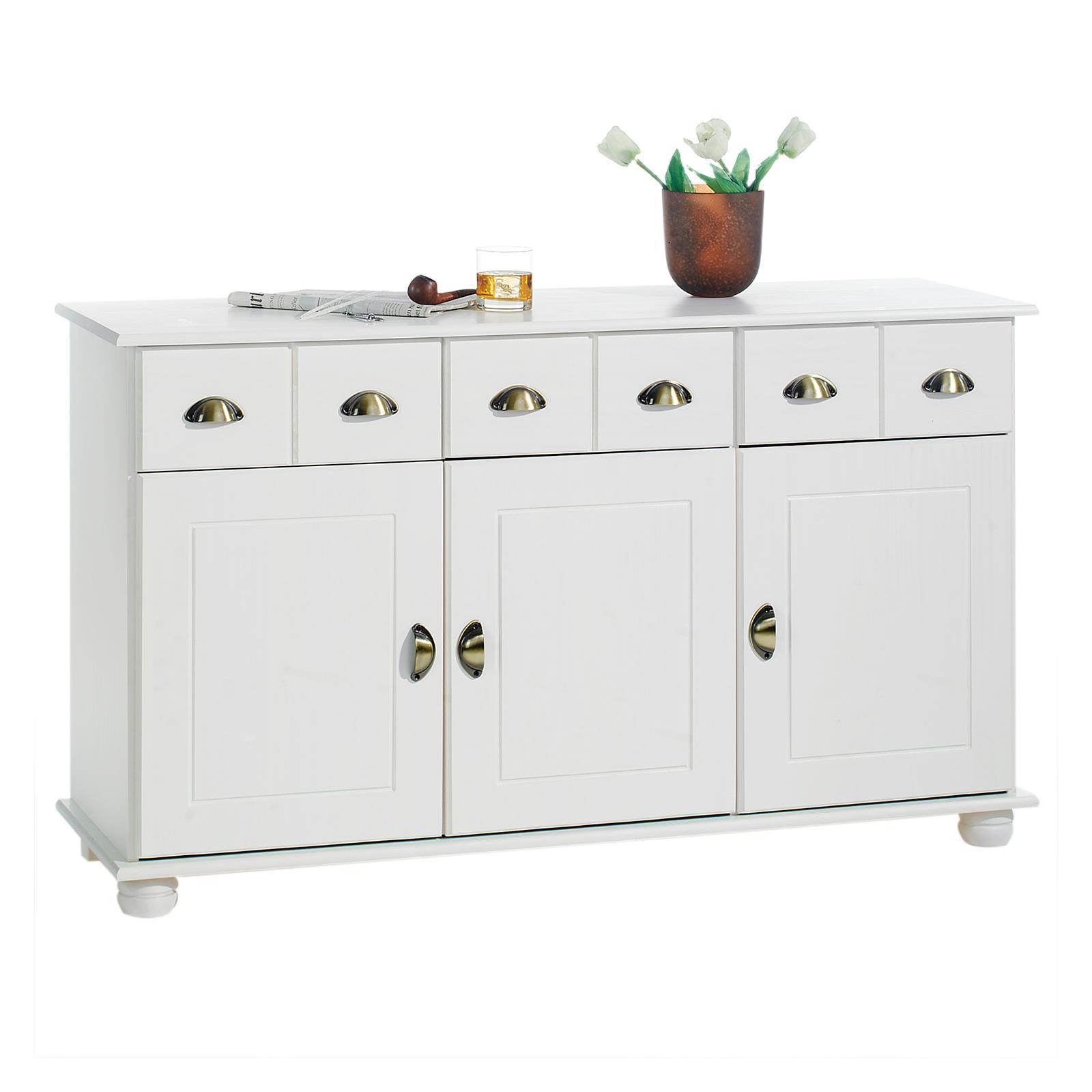 Buffet en pin colmar 3 tiroirs 3 portes lasur blanc - Buffet de cuisine en pin ...