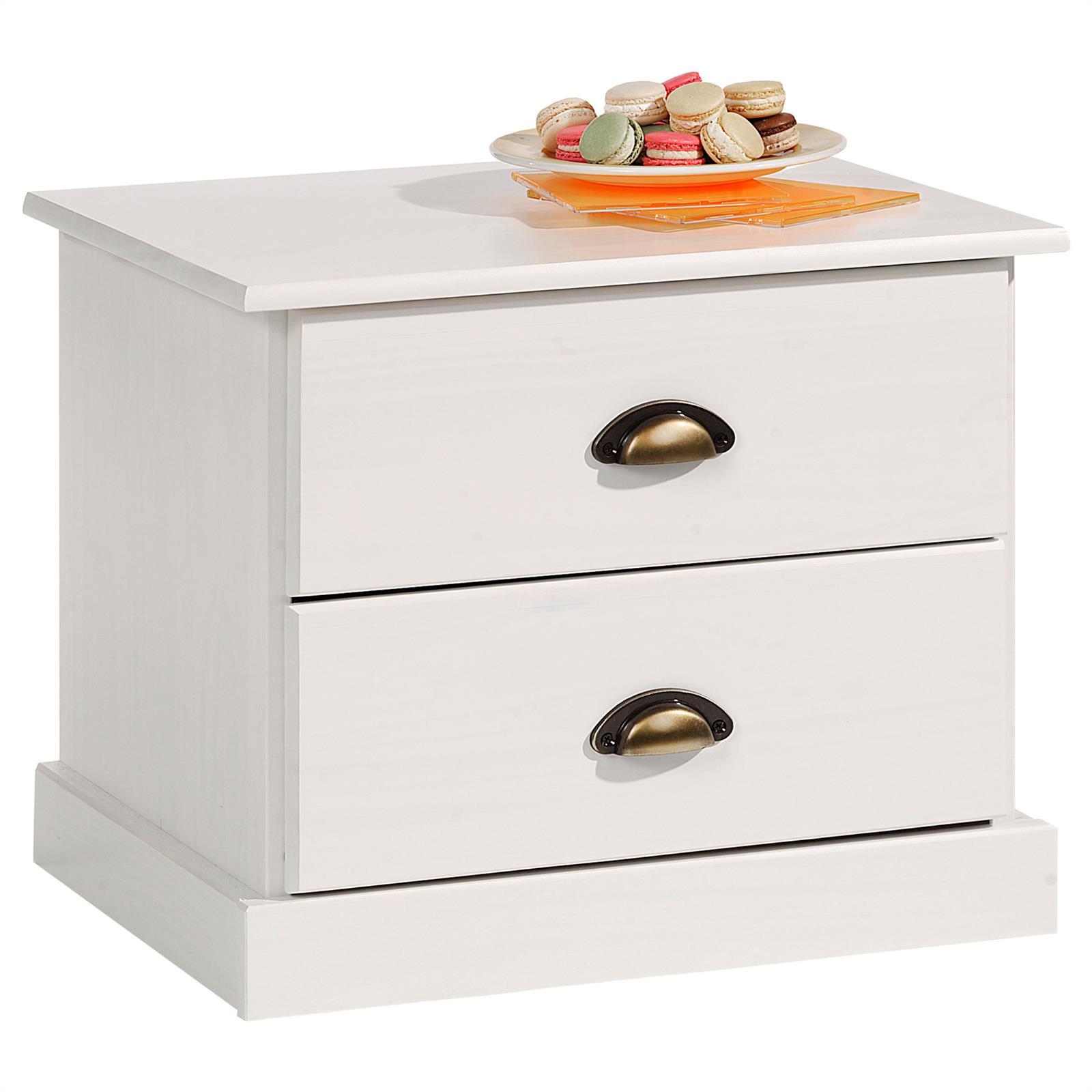 Table de chevet paris en pin massif 2 tiroirs lasur blanc mobil meubles - Table de chevet en pin massif ...
