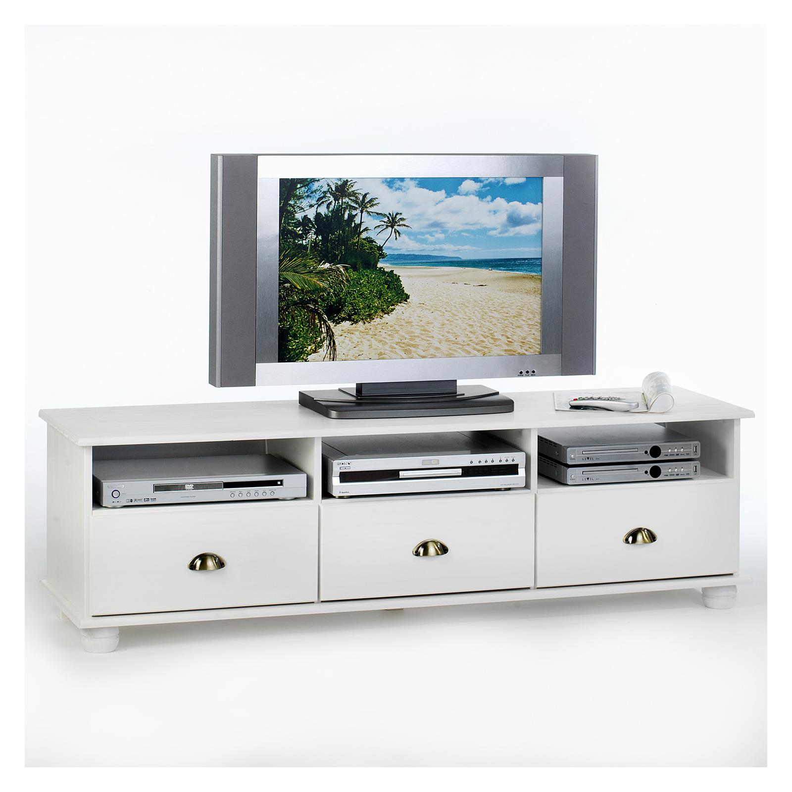 meuble tv en pin colmar 3 tiroirs 3 niches lasur blanc mobil meubles. Black Bedroom Furniture Sets. Home Design Ideas