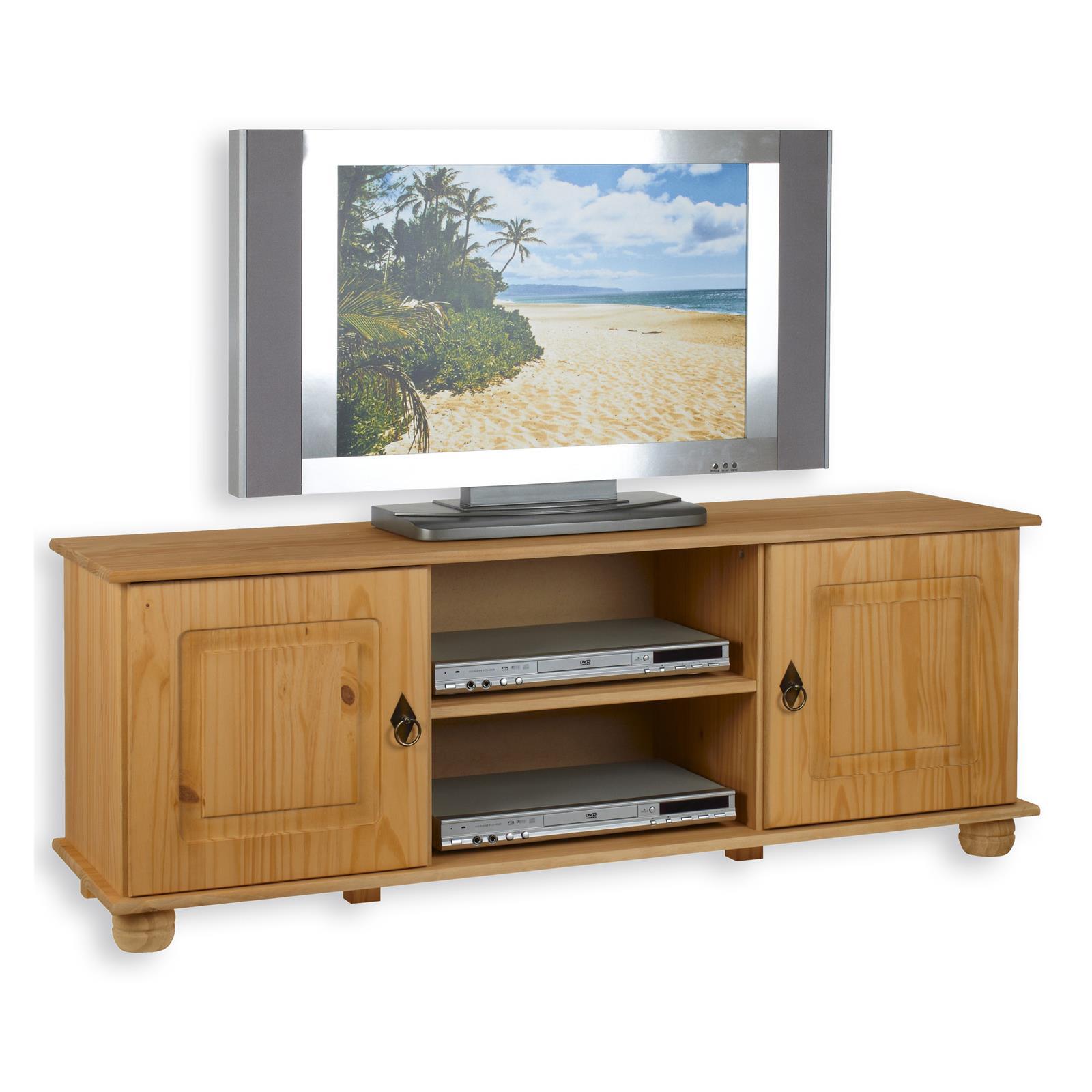 Meuble tv en pin belfort 2 portes 2 niches finition for Meuble tv en pin