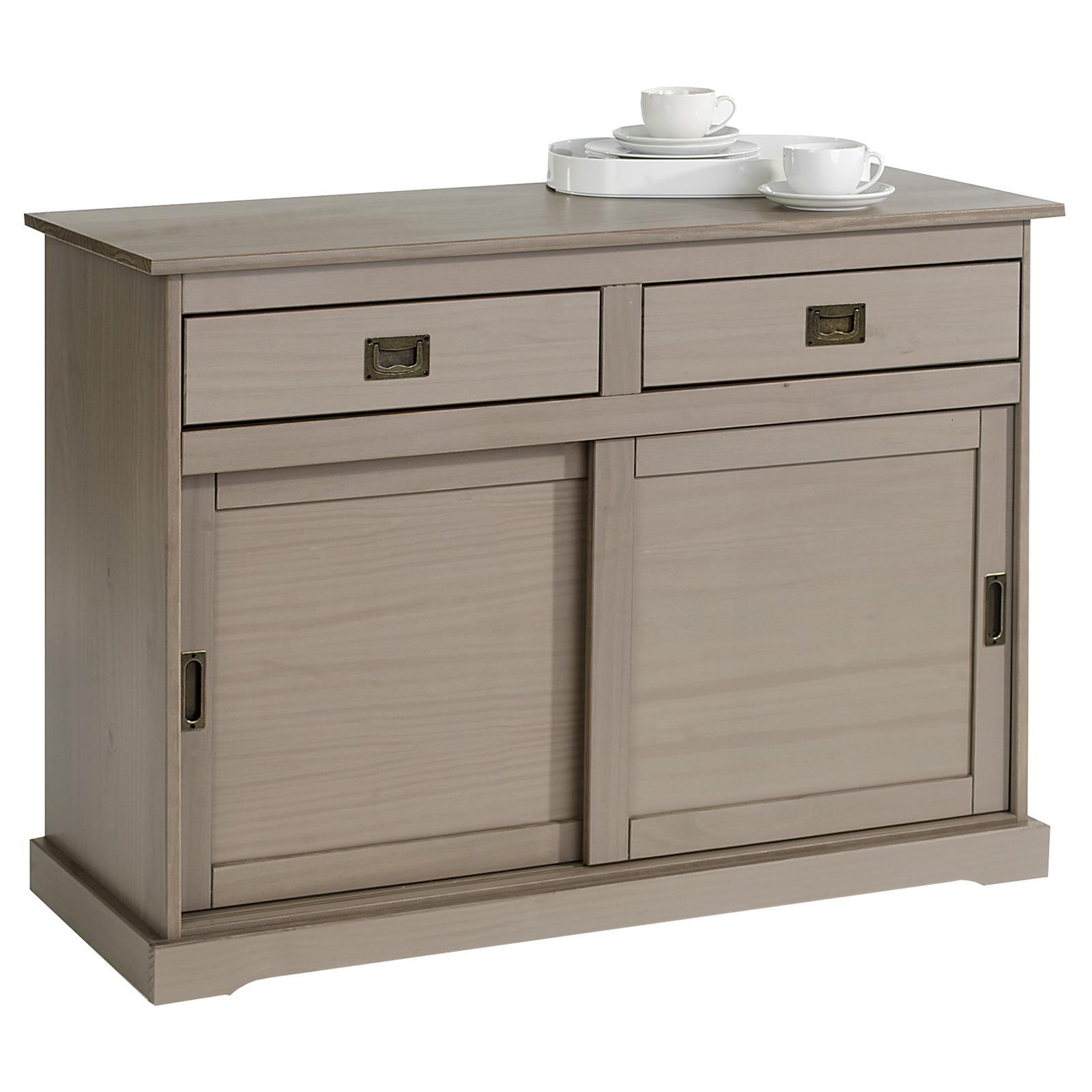 buffet savona en pin massif 2 tiroirs et 2 portes lasur taupe mobil meubles. Black Bedroom Furniture Sets. Home Design Ideas