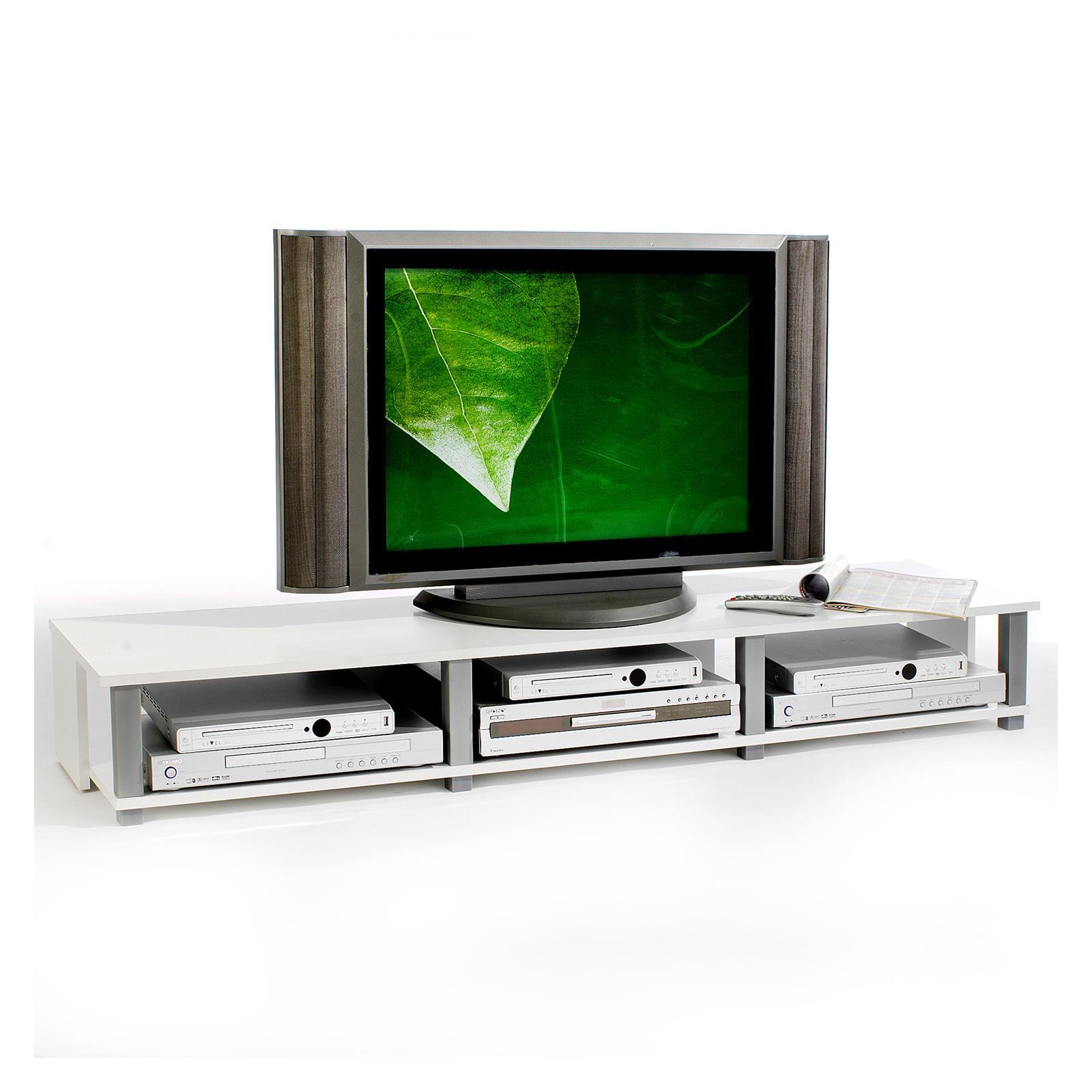 Meuble tv kimi 3 niches blanc mobil meubles for Meuble tv 3 niches