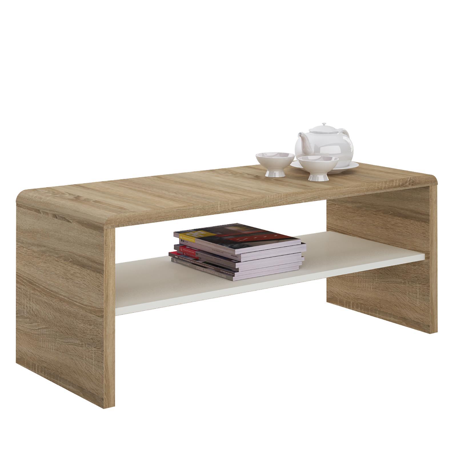 Meuble tv table basse noelle d cor ch ne sonoma et blanc for Table basse sonoma