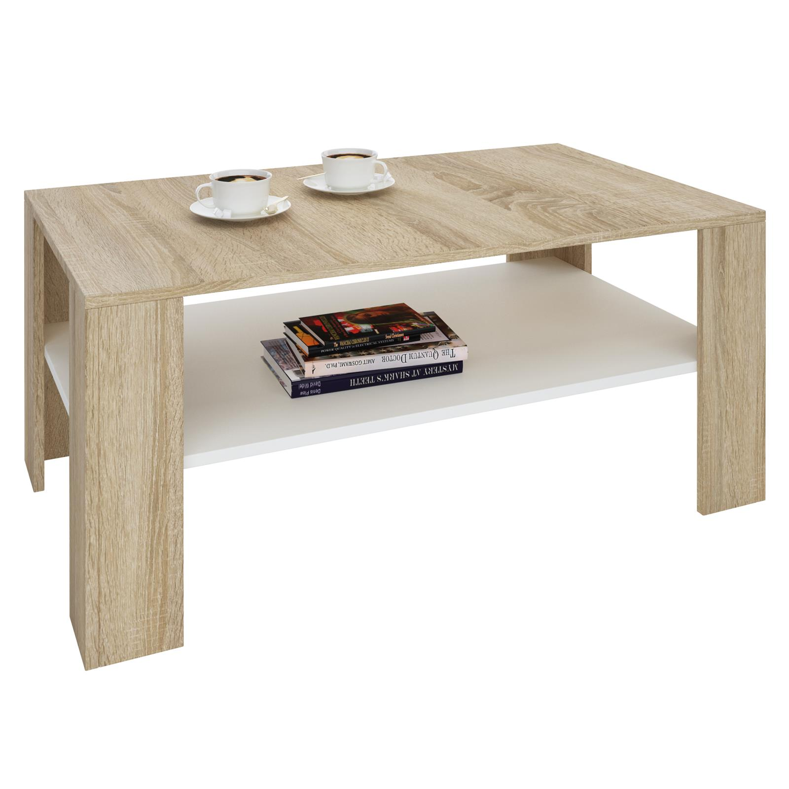 table basse de salon rectangulaire avec tablette m lamin. Black Bedroom Furniture Sets. Home Design Ideas