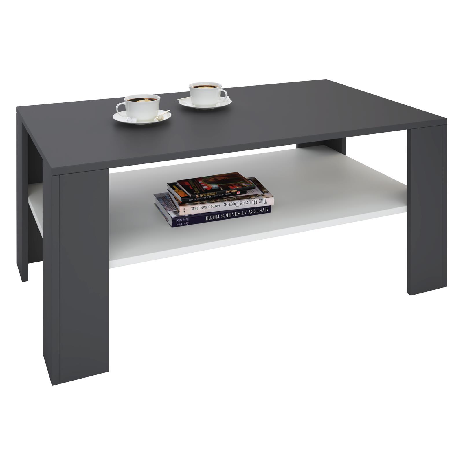 table basse lorient en m lamin gris et blanc mat mobil meubles. Black Bedroom Furniture Sets. Home Design Ideas