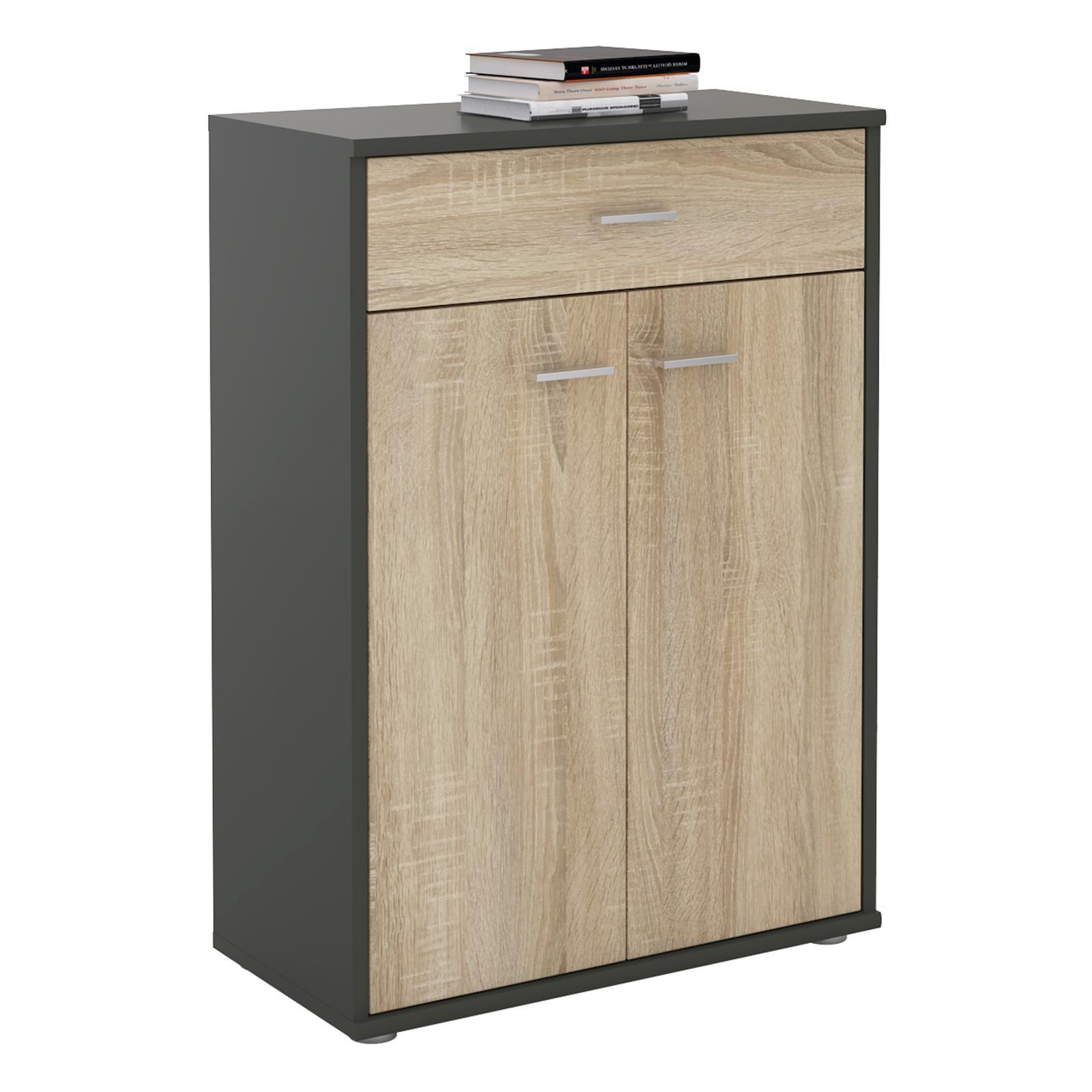 buffet calais m lamin gris mat et ch ne sonoma mobil meubles. Black Bedroom Furniture Sets. Home Design Ideas