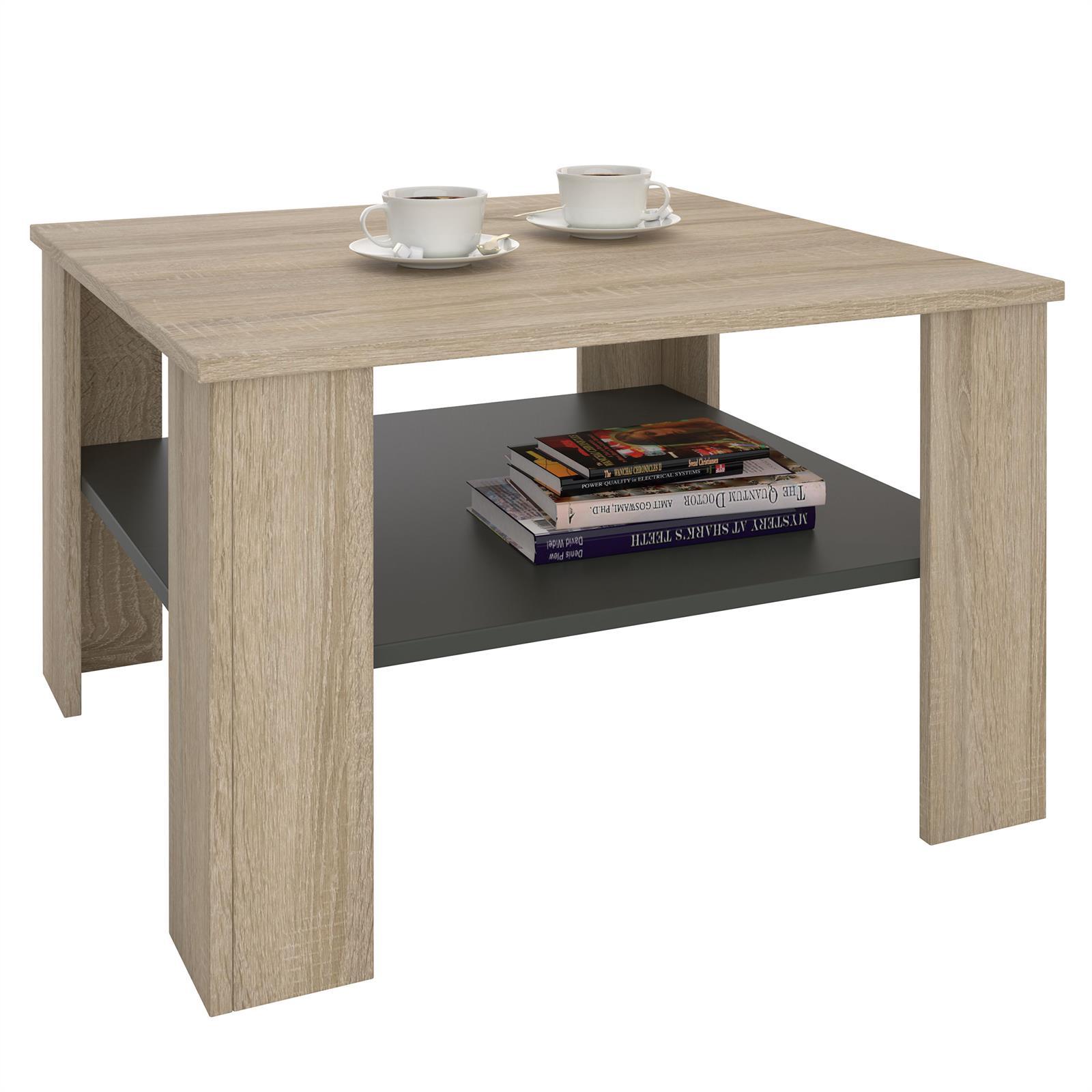 table basse sejour en m lamin d cor ch ne sonoma et gris mat mobil meubles. Black Bedroom Furniture Sets. Home Design Ideas