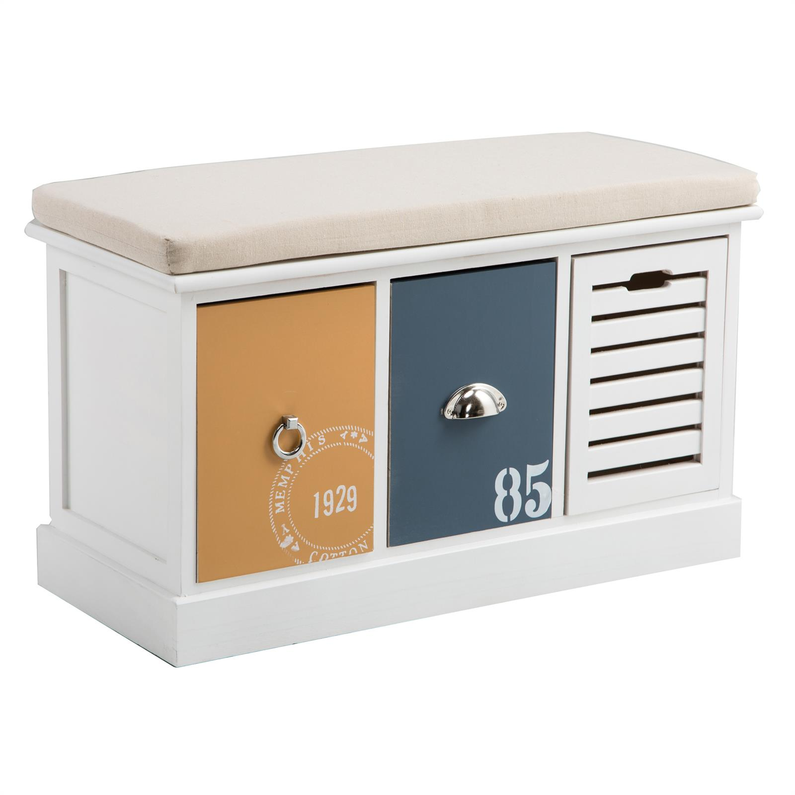 banc de rangement trient 3 casiers blanc orange et bleu mobil meubles. Black Bedroom Furniture Sets. Home Design Ideas
