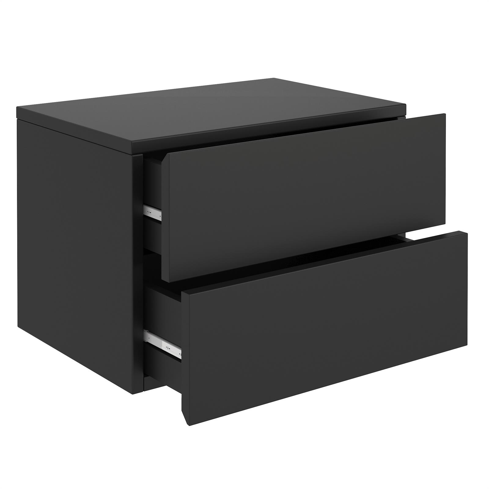 chevet suspendu florent 2 tiroirs m lamin noir mat mobil meubles. Black Bedroom Furniture Sets. Home Design Ideas