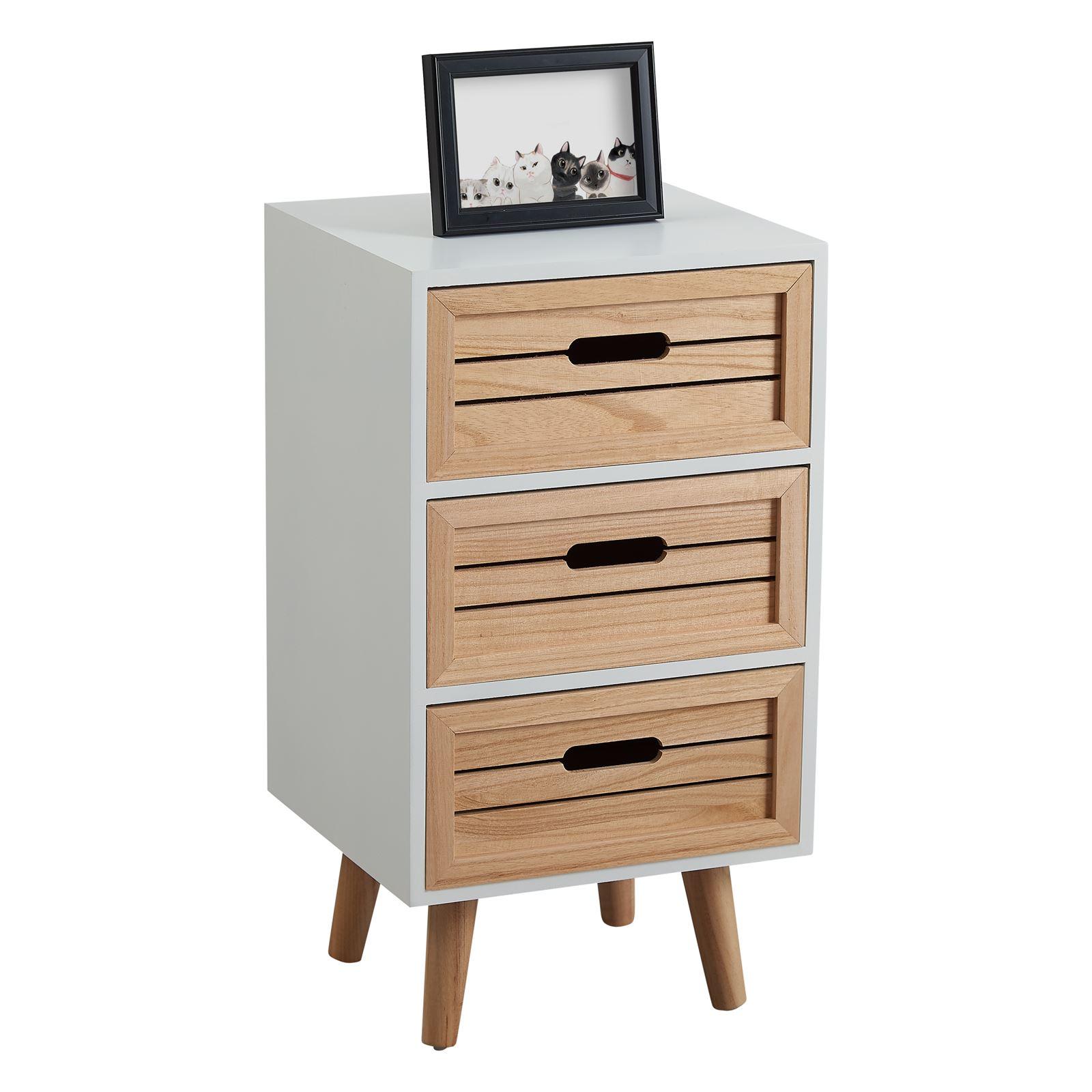 Table de chevet estoril 3 tiroirs blanc mobil meubles - Table de chevet classique ...