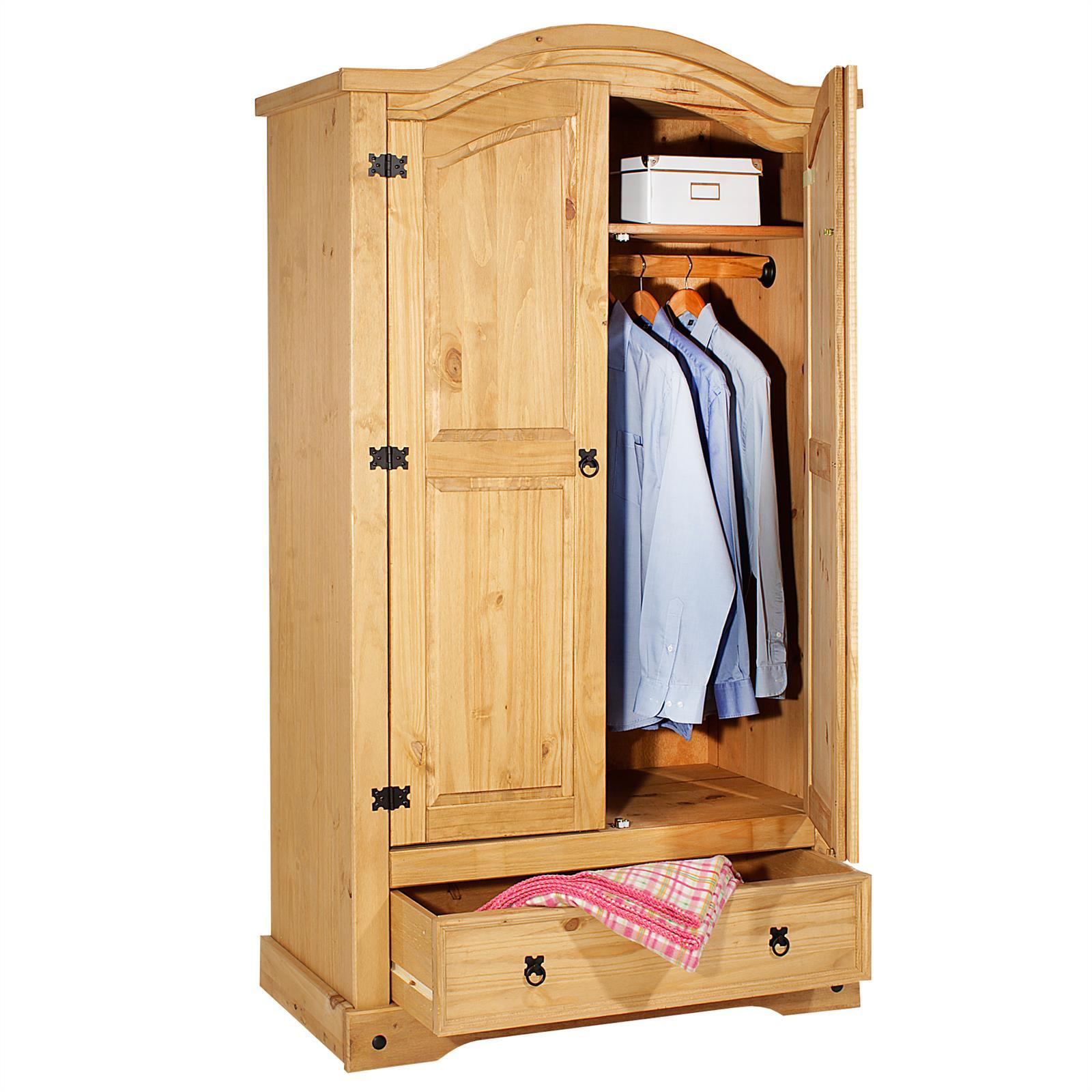 armoire en pin salsa style mexicain 2 portes et 1 tiroir. Black Bedroom Furniture Sets. Home Design Ideas