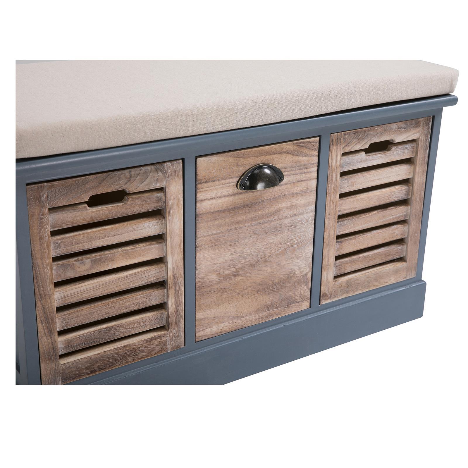 Banc de rangement TRIENT, 3 caisses, gris et finition bois naturel - | Mobil-Meubles