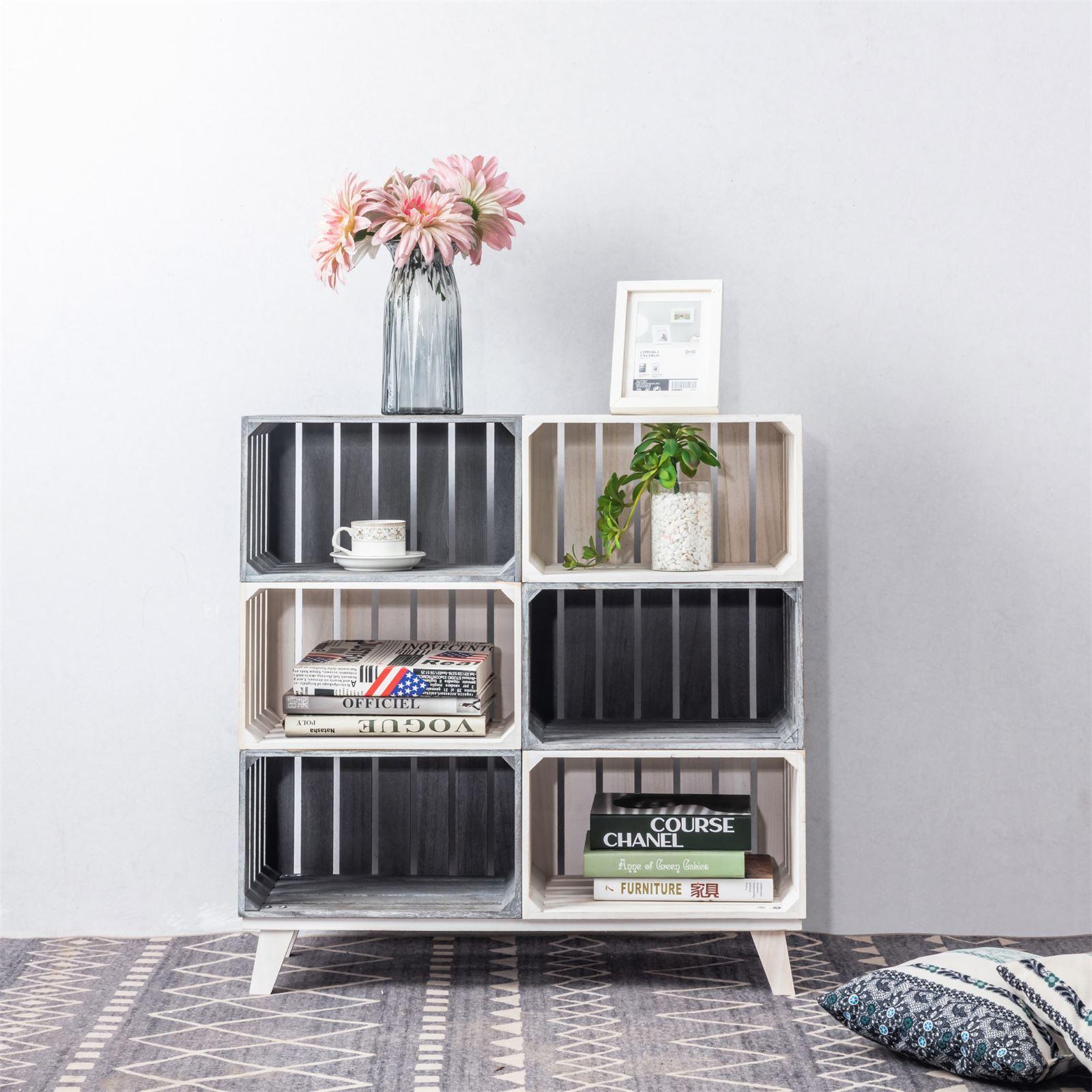 Meuble A Chaussure En Cagette etagère kalena, rangement 6 cagettes en bois -   mobil-meubles