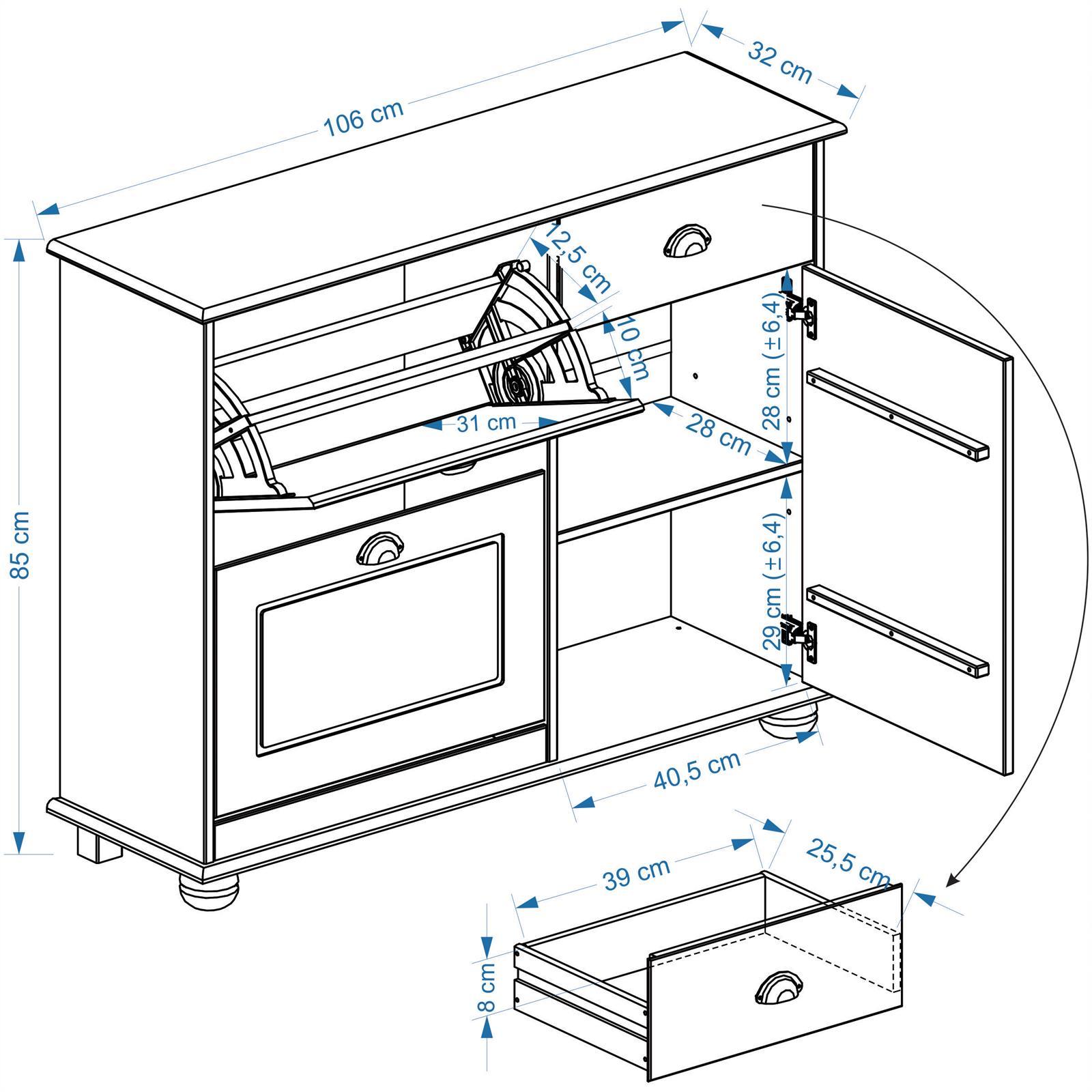 meuble chaussures en pin colmar lasur blanc mobil. Black Bedroom Furniture Sets. Home Design Ideas
