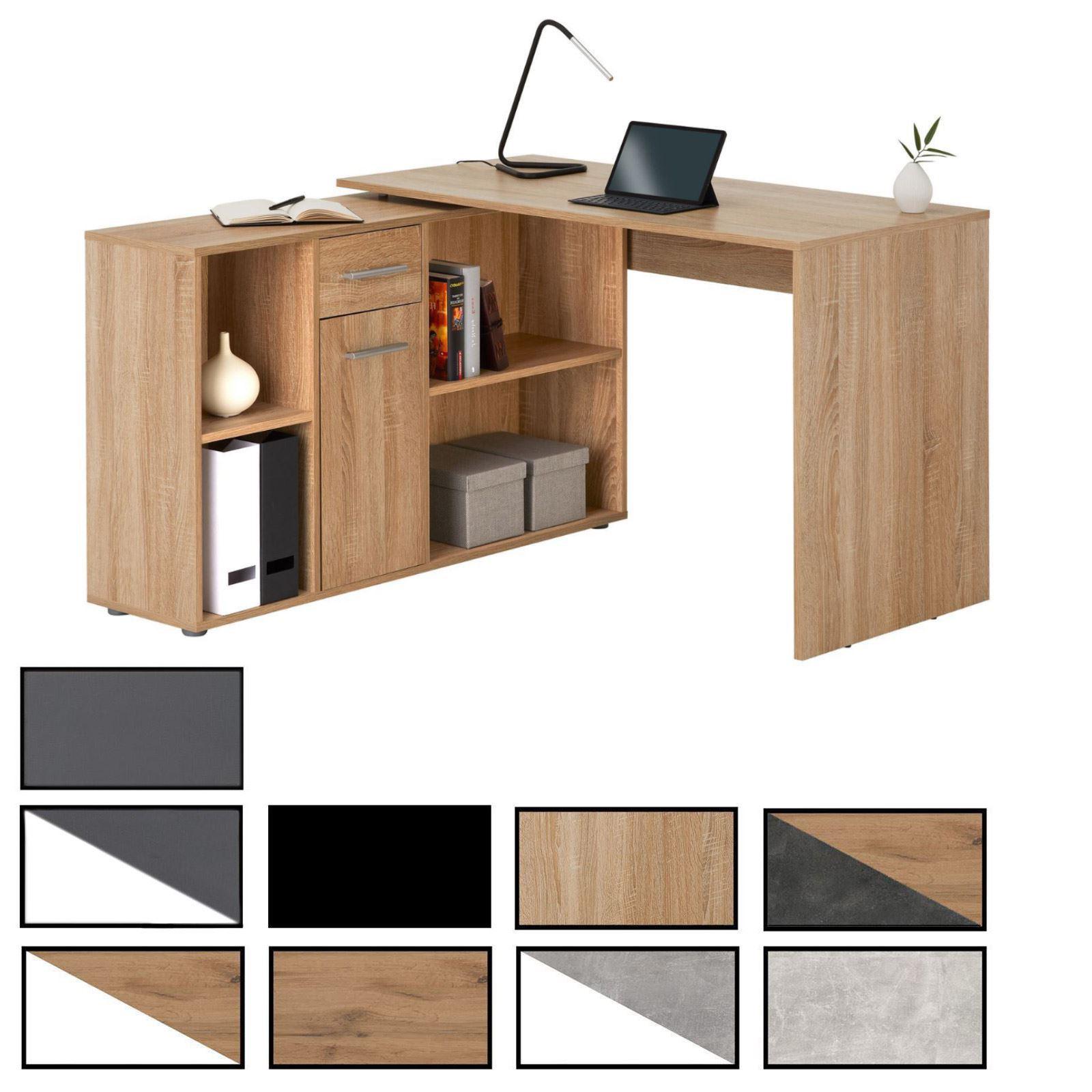 Plan De Travail Mobile bureau d'angle carmen avec meuble de rangement