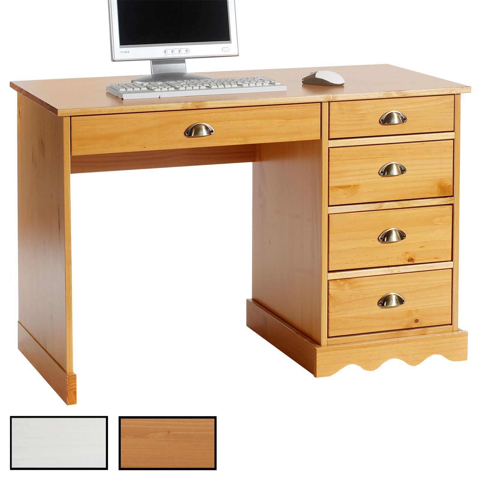 Bureau en pin colette 2 coloris disponibles mobil meubles for Bureau en pin