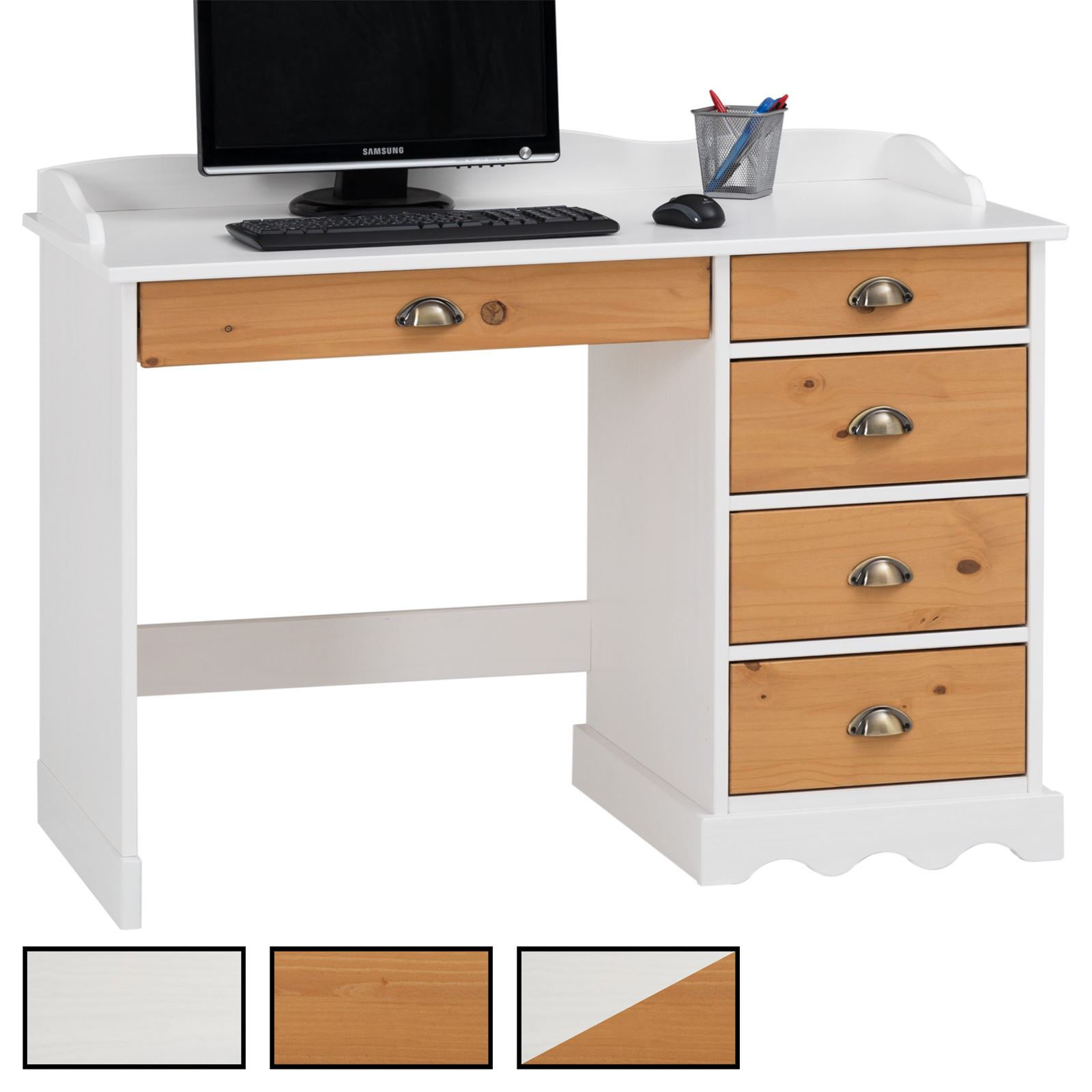 bureau en pin massif colette avec corniche mobil meubles. Black Bedroom Furniture Sets. Home Design Ideas
