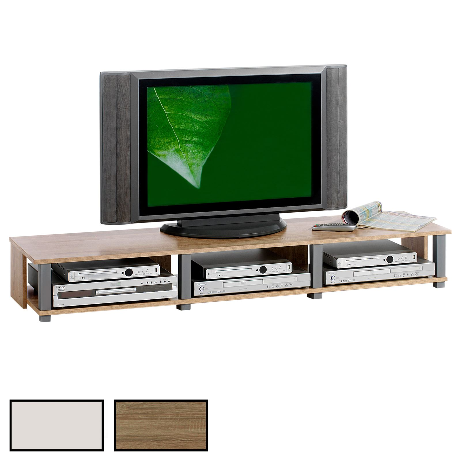 Meuble tv kimi 3 niches 2 coloris disponibles mobil for Meuble tv 3 niches