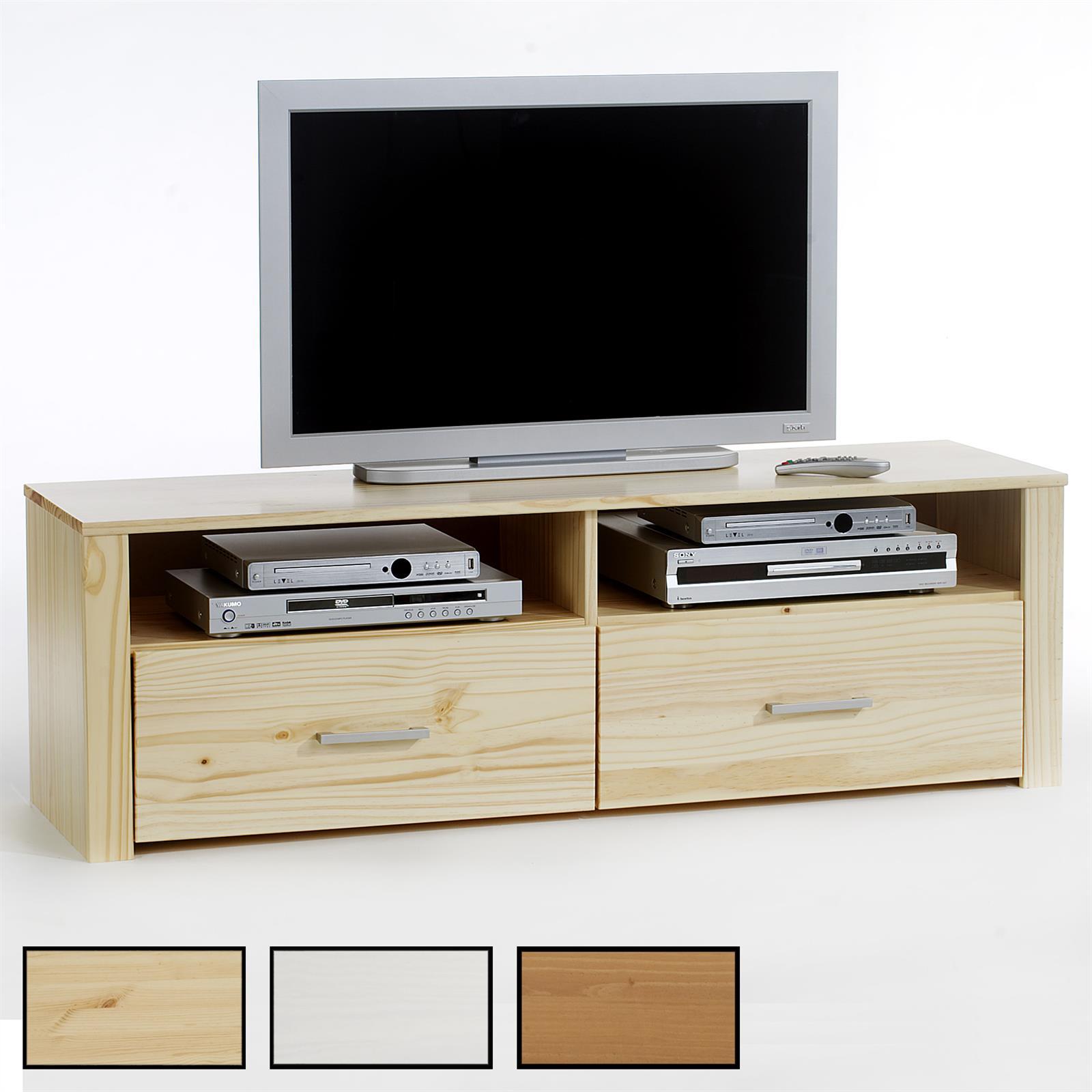 Meuble tv en pin tenno 2 tiroirs 2 niches 3 coloris for Meuble tv pin