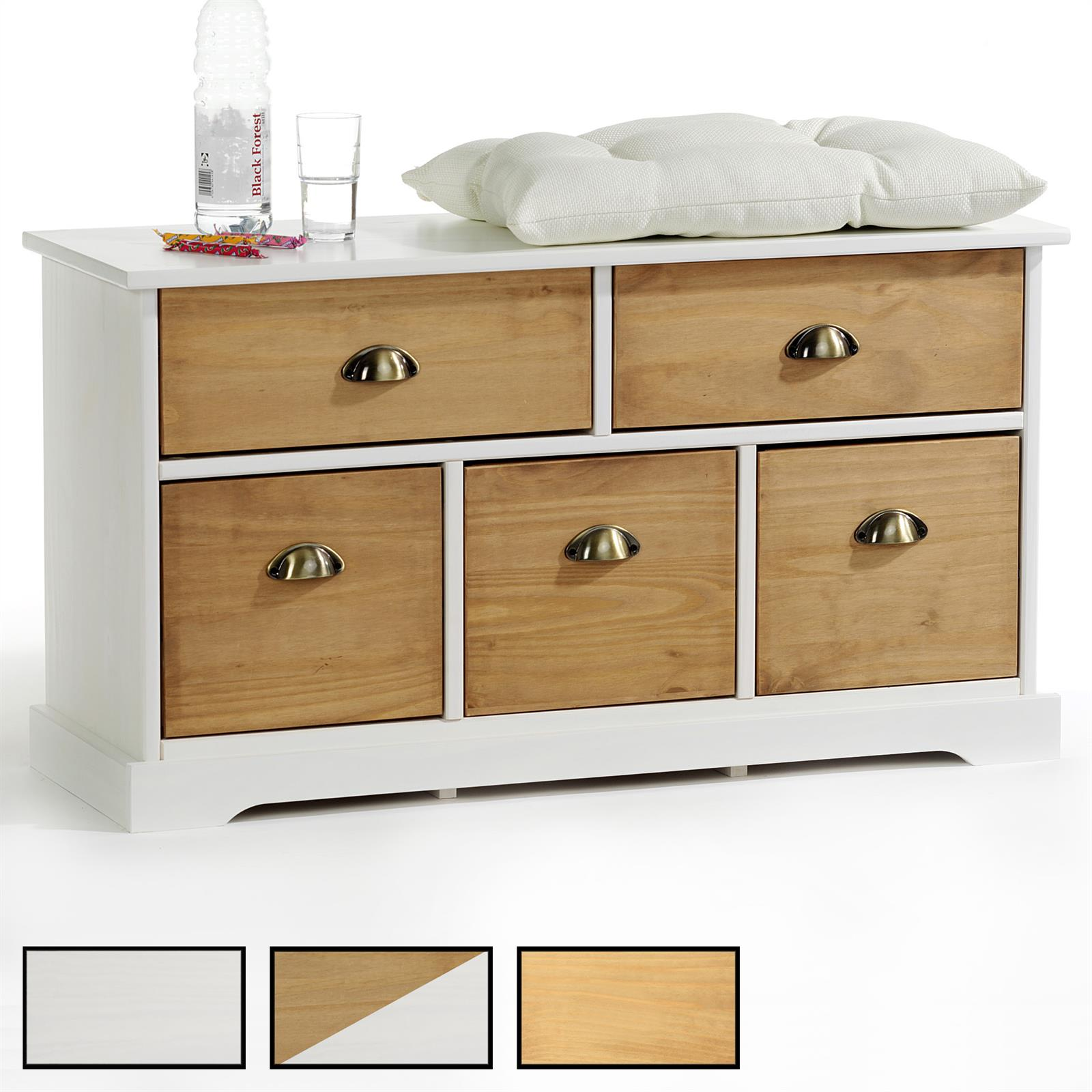 banc en pin nancy 2 5 tiroirs 3 coloris disponibles mobil meubles. Black Bedroom Furniture Sets. Home Design Ideas