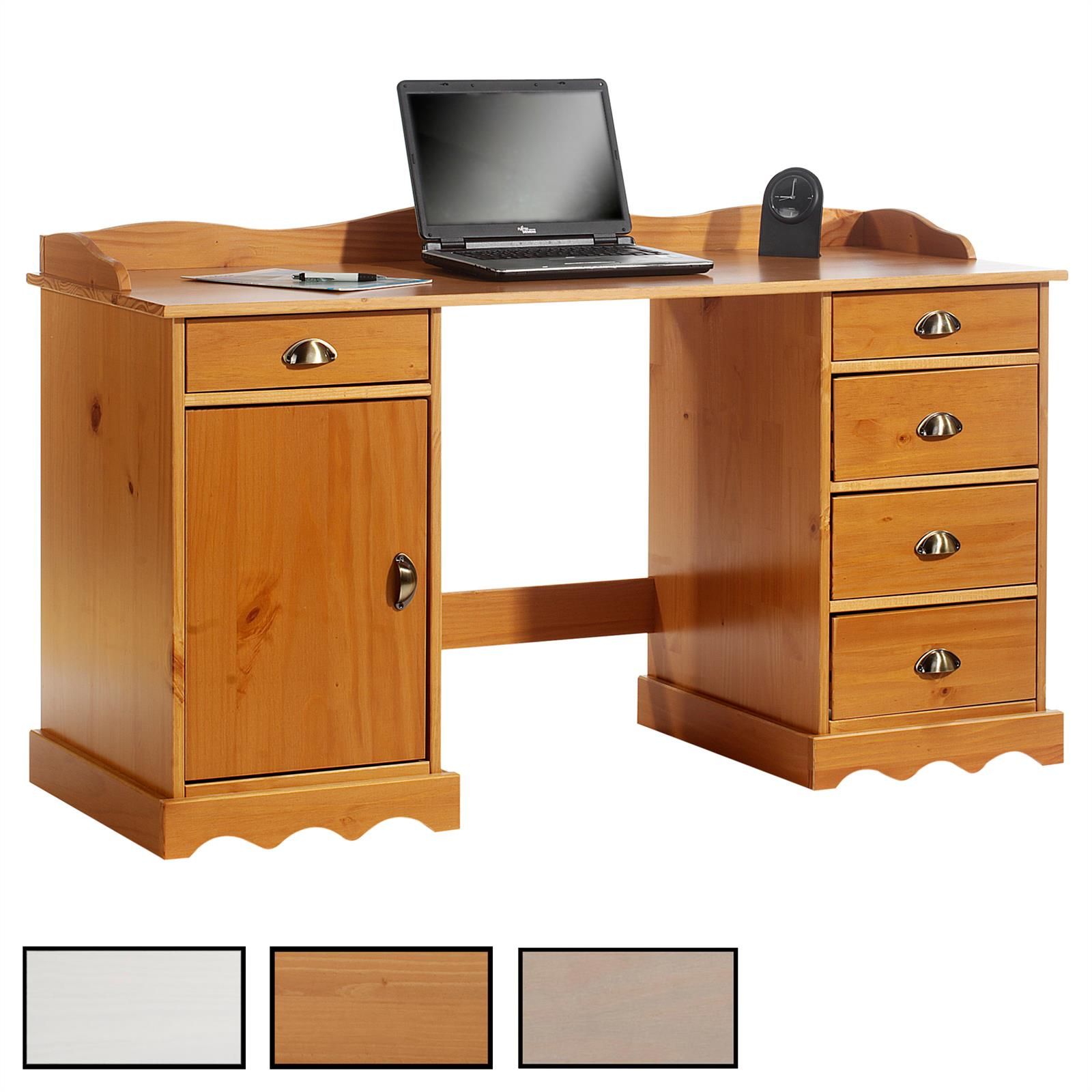 bureau en pin massif sandrine avec corniche mobil meubles. Black Bedroom Furniture Sets. Home Design Ideas