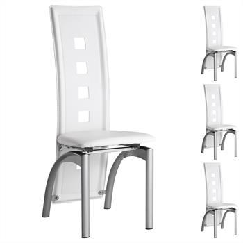 Lot de 4 chaises MONICA, en synthétique blanc