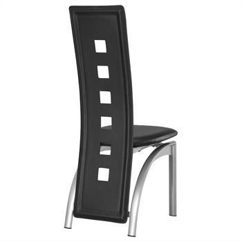Lot de 4 chaises MONICA, en synthétique noir