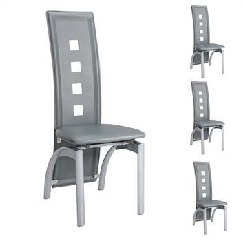Lot de 4 chaises MONICA, en synthétique gris