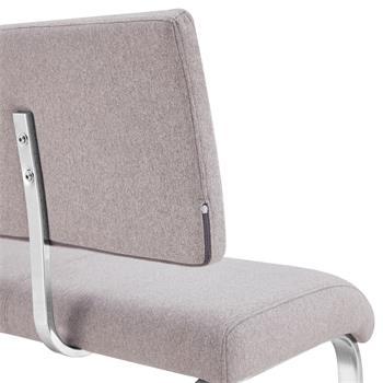 Banc design avec dossier VILAS, en tissu gris