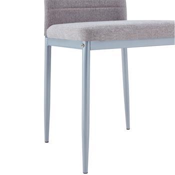 Lot de 4 chaises NATHALIE, tissu gris