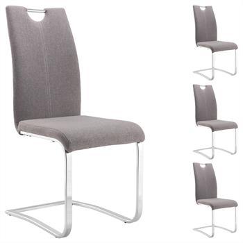 Lot de 4 chaises SABA, en tissu gris