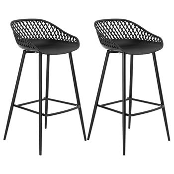 Lot de 2 tabourets de bar IREK, en plastique noir