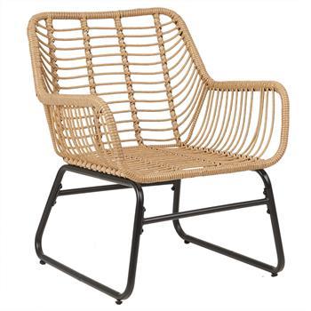 Chaise de salle à manger ALBEDO en acier noir et imitation rotin