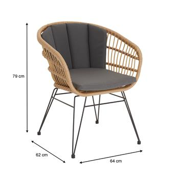 Chaise de salle à manger COSTA, imitation rotin