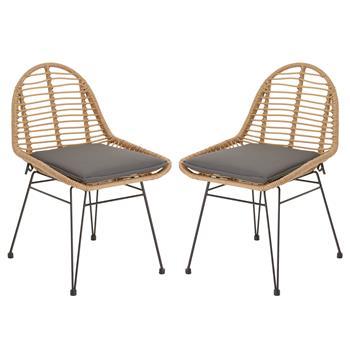 Lot de 2 chaises de jardin LOBOS, en imitation rotin