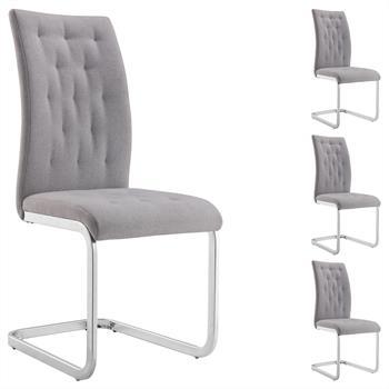 Lot de 4 chaises CHLOE, en tissu gris
