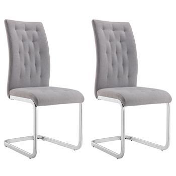 Lot de 2 chaises CHLOE, en tissu gris