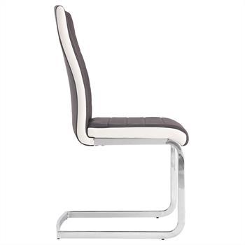 Lot de 4 chaises GEORGE, en synthétique brun et blanc