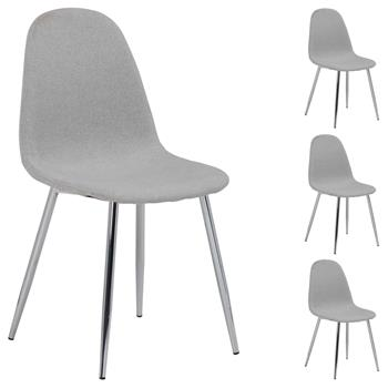 Lot de 4 chaises CARLOS, en tissu gris clair