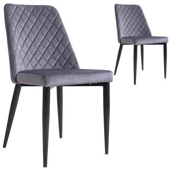 Lot de 2 chaises ZAMORA, en velours gris