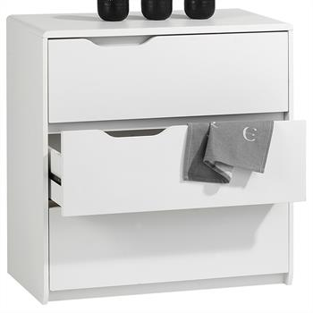 Commode MILLY, 3 tiroirs, MDF décor blanc