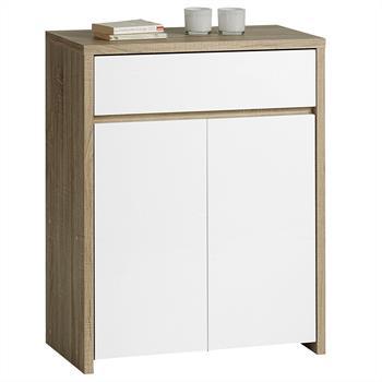 Buffet CATANIA 1 tiroir + 2 portes, laqué blanc et décor chêne sonoma