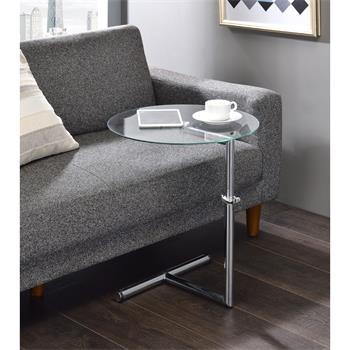 Table d'appoint LEONIE, métal chromé et verre trempé transparent