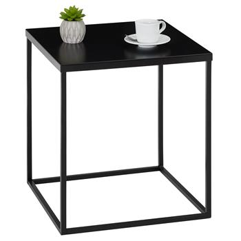 Table d'appoint carré HILAR, en métal laqué noir