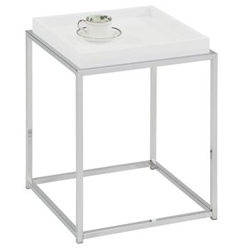 Table d'appoint carré NOW, en métal chromé et décor blanc mat