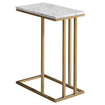 Table d'appoint rectangulaire CARLOTA, en métal doré et MDF décor marbre blanc